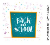 vector back to school doodle... | Shutterstock .eps vector #694432024