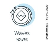 waves cryptocurrency coin line  ... | Shutterstock .eps vector #694433029