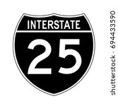 interstate highway 25 road sign.... | Shutterstock .eps vector #694433590