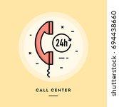 call center  flat design thin... | Shutterstock .eps vector #694438660