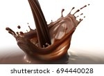 pouring chocolate splash on... | Shutterstock . vector #694440028
