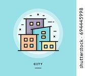 city  flat design thin line... | Shutterstock .eps vector #694445998