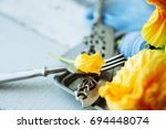 group of zuchcini flowers on... | Shutterstock . vector #694448074