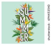 palm leaves and tropical... | Shutterstock .eps vector #694453540