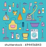 household cleaning supplies... | Shutterstock . vector #694456843