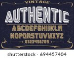 vintage font handcrafted vector ... | Shutterstock .eps vector #694457404