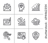 set of linear icons for startup ... | Shutterstock . vector #694462354