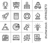 set of linear icons for startup ... | Shutterstock . vector #694462873