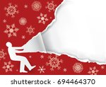 unpacking a large christmas... | Shutterstock .eps vector #694464370