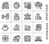 unique linear icons set of... | Shutterstock . vector #694472320