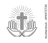 church  religion logo. bible ... | Shutterstock .eps vector #694472734