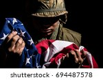 vietnam war us marine with... | Shutterstock . vector #694487578