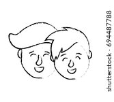 figure avatar couple head with... | Shutterstock .eps vector #694487788