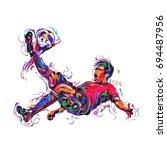 soccer player colorful kicks  ... | Shutterstock .eps vector #694487956