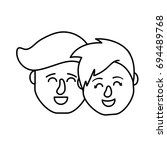 line avatar couple head with... | Shutterstock .eps vector #694489768