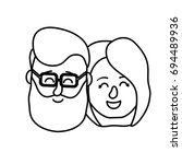 line avatar couple head with... | Shutterstock .eps vector #694489936