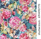 watercolor roses seamless... | Shutterstock . vector #694490770