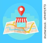 local seo banner  map and shop...   Shutterstock . vector #694491973