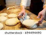 food cooking  baking and people ...   Shutterstock . vector #694494490