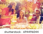 leisure  holidays  eating ... | Shutterstock . vector #694496044