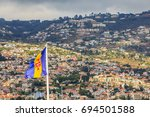madeira flag with high town of... | Shutterstock . vector #694501588
