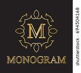vintage monogram frame template....   Shutterstock .eps vector #694504168