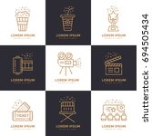 cinema linear icons set.... | Shutterstock . vector #694505434