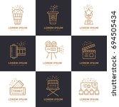 cinema linear icons set.... | Shutterstock . vector #694505434