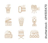 cinema linear icons set.... | Shutterstock . vector #694505470