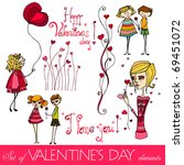 vector set of valentine's day... | Shutterstock .eps vector #69451072