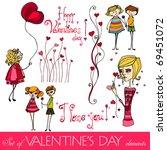 vector set of valentine's day... | Shutterstock .eps vector #69451072