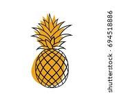 pineapple tropical fruit....   Shutterstock .eps vector #694518886