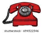 cartoon image of a telephone.... | Shutterstock .eps vector #694522546