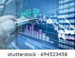 stock market graph analysis for ... | Shutterstock . vector #694523458