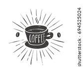 vintage badge coffee | Shutterstock .eps vector #694525024