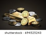Stack of Bitcoins and Ethereum coins  around gold ingot (bullion bar). Cryptocurrencies as a future gold (most precious commodity in the world). 3D rendering - stock photo