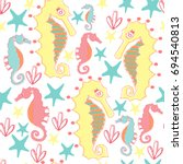 colorful sea horses seamless... | Shutterstock .eps vector #694540813