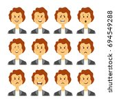 set of avatars with female... | Shutterstock . vector #694549288