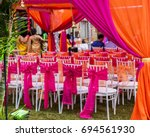colorful outdoor lawn tent and...   Shutterstock . vector #694561930
