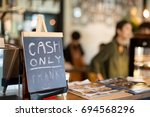 selected focus cash only letter ... | Shutterstock . vector #694568296