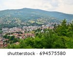 a view of the town of travnik... | Shutterstock . vector #694575580