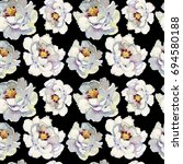 seamless pattern with peony... | Shutterstock . vector #694580188