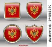 flag of montenegro in 4 shapes... | Shutterstock .eps vector #694585390