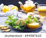 ginger mint and fresh tea | Shutterstock . vector #694587610