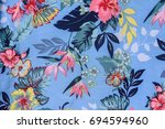 seamless pattern with flowers.... | Shutterstock . vector #694594960