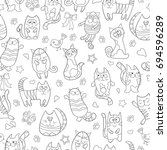 seamless pattern with contour... | Shutterstock .eps vector #694596289