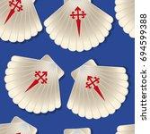 vector seamless pattern of a... | Shutterstock .eps vector #694599388