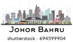 johor bahru malaysia skyline... | Shutterstock . vector #694599904