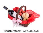 Small photo of Hamper basket consist red eggs, peach and red wine for good luck