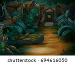 haunted house in the deep... | Shutterstock .eps vector #694616050